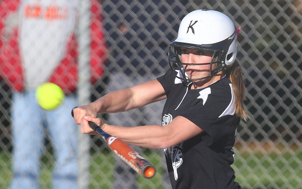 Kyle Bursaw – kbursaw@shawmedia.com<br /> <br /> Kaneland batter Lexi Roach connects with a pitch during their game at Huntley Middle School on Thursday, April 5, 2012.