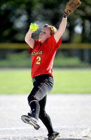 Sandy Bressner - sbressner@shawmedia.com<br /> Batavia's Katie Coleman pitches gets a hit during their 9-0 home game loss to Bartlett Wednesday.