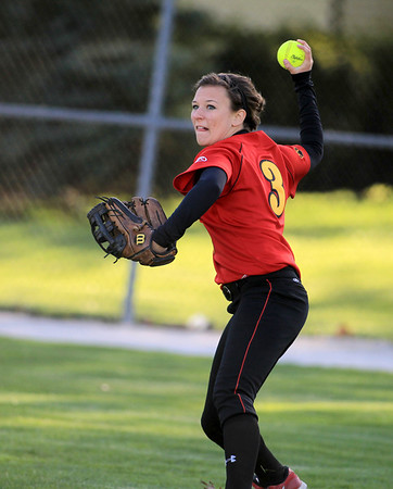 Sandy Bressner - sbressner@shawmedia.com<br /> Batavia's Meghan Fabian throws to first from right field during their 9-0 home game loss to Bartlett Wednesday.
