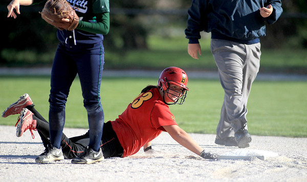 Sandy Bressner - sbressner@shawmedia.com<br /> Batavia's Katie Neubauer is out at second during their 9-0 home game loss to Bartlett Wednesday.