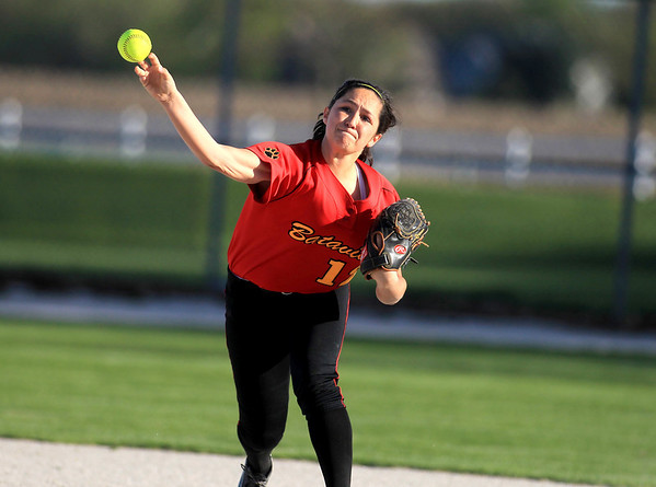 Sandy Bressner - sbressner@shawmedia.com<br /> Batavia's Sami Villarreal throws to first during their 9-0 home game loss to Bartlett Wednesday.
