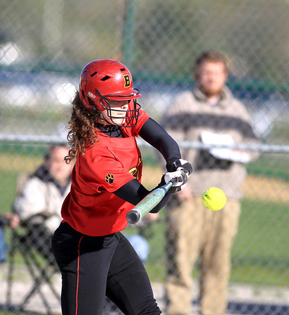 Sandy Bressner - sbressner@shawmedia.com<br /> Batavia's Katie Ryan gets a hit during their 9-0 home game loss to Bartlett Wednesday.