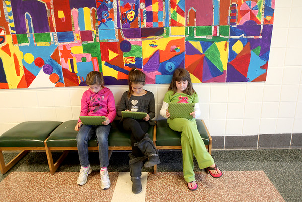 (Left to right)<br /> Richmond Elementary School third graders Sage Overstreet, Emma Santos and Aleesa Luecker.