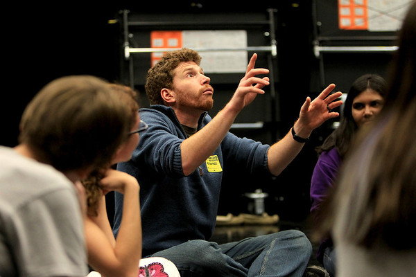 Sandy Bressner - sbressner@shawmedia.com<br /> Eliot Monaco of The Mime Company (center) gives a workshop to Kaneland High School students who are members of the school's This is No Act improvisation group. The group will be featured during the school's Fine Arts Festival April 22.