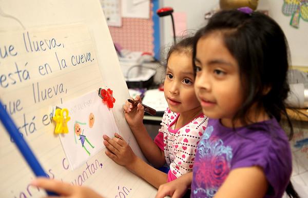 Sandy Bressner - sbressner@shawmedia.com<br /> Sherlin Garcia (left) and Jimena Jimenez (right) write on a board in their bilingual kindergarten classroom at Anderson Elementary School in St. Charles Monday.