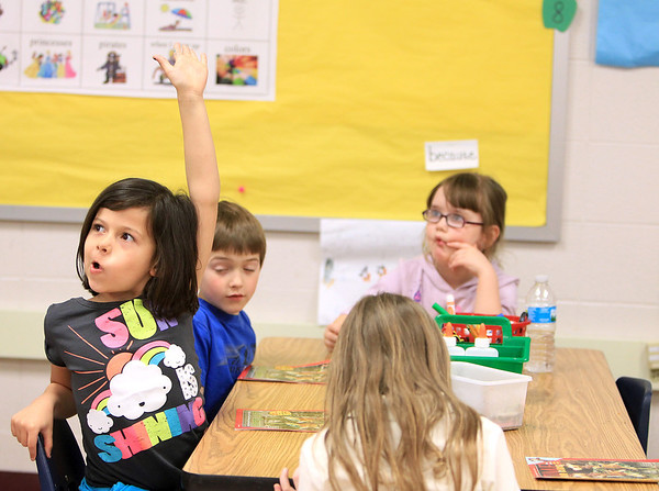 Sandy Bressner - sbressner@shawmedia.com<br /> Emily Brook raises her hand to ask a question kindergarten classroom at Anderson Elementary School in St. Charles Monday.