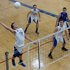 St. Charles North's Jack Harbaugh (6) goes up for a kill against Joliet East during the West Aurora Boys Varsity Volleyball Invite at West Aurora High School in Aurora, IL on Saturday, March 30, 2013 (Sean King for The Kane County Chronicle)