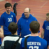Geneva's head coach KC Johnsen talks to his team before their match against Oswego East at the West Aurora Boys Varsity Volleyball Invite at West Aurora High School in Aurora, IL on Saturday, March 30, 2013 (Sean King for The Kane County Chronicle)