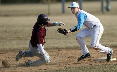 Sarah Nader - snader@shawmedia.com Montini's Manny Georgitsis (left) is out as Marian Central's Edgar Ross waits for him to slide back to second during Wednesday's game in Woodstock on April 4, 2013.
