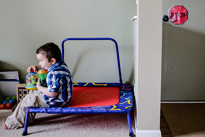 Lathan Goumas - lgoumas@shawmedia.com Mason Fresso, 5, sits in his therapy room at his Lake in the Hills, Ill. home on Wednesday, April 24, 2013. Mason was diagnosed autistic at age one and is non-verbal, the family is attempting to raise money for an autism assistance dog to help Mason.
