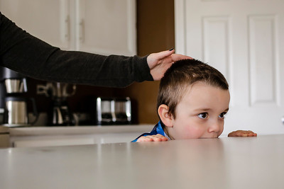 Lathan Goumas - lgoumas@shawmedia.com Mason Fresso, 4, bites a counter top in the kitchen while his mother Julia tells him to stop on Wednesday, April 24, 2013 at their home in Lake in the Hills, Ill. Mason was diagnosed autistic at age one and the family is attempting to raise money for an autism assistance dog to help Mason.