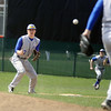 Jeff Krage – For the Kane County Chronicle<br /> Geneva shortstop Nick Derr waits for a throw during an attempted steal during game one of Saturday's doubleheader at St. Charles East.<br /> St. Charles 4/27/13