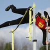 Jeff Krage – For the Kane County Chronicle<br /> Batavia's Skylar Schoen competes in the pole vault during Friday's Kane County Girls Track Meet at Geneva High School.<br /> Geneva 4/26/13