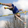 Jeff Krage – For the Kane County Chronicle<br /> Burlington Central's Katie Trupp competes in the pole vault during Friday's Kane County Girls Track Meet at Geneva High School.<br /> Geneva 4/26/13