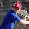 Jeff Krage – For the Kane County Chronicle<br /> Marmion Academy's Rick Angsten hits a return during Saturday's tennis tournament at West Aurora High School.<br /> Aurora 4/27/13
