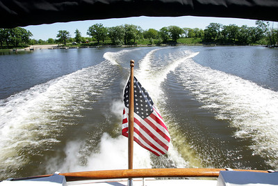 "H. Rick Bamman -hbamman@shawmedia.com  The view of the Fox River from the stern of Thor Forsberg's 1973 Trojan boat ""Hagar IV"" Friday, May 24, 2013. Memorial Day is the unofficial start of the boating season."
