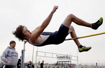 Sarah Nader - snader@shawmedia.com Cary-Grove's Jake Stiller competes in high jump during Saturday's Al Bohrer Invitational Track Meet At Cary High School on April 6, 2013.