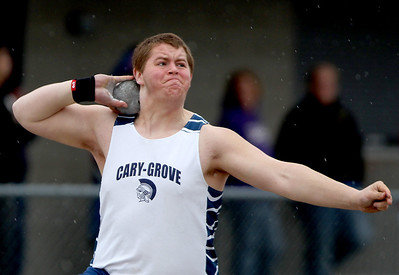 Sarah Nader - snader@shawmedia.com Cary-Grove's Ricky Hurley competes in shot put during Saturday's Al Bohrer Invitational Track Meet At Cary High School on April 6, 2013.