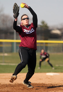 Sarah Nader - snader@shawmedia.com Prairie Ridge's Kirsten Stevens pitches during Monday's game against Cary-Grove in Cary on April 22, 2013. Cary-Grove won, 3-1.