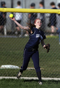 Sarah Nader - snader@shawmedia.com Cary-Grove's Erin Olson throw the ball to second during the fifth inning of Monday's game against Prairie Ridge in Cary on April 22, 2013. Cary-Grove won, 3-1.