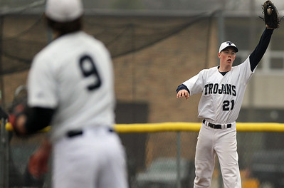 Sarah Nader - snader@shawmedia.com Cary-Grove's Andrew Brierton catches a pass to first base during Thursday's game against Woodstock North on April 11, 2013.
