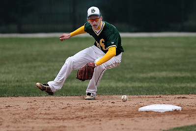 Sarah Nader - snader@shawmedia.com Crystal Lake South's Tyler Hall fields a ground ball during the second inning of Tuesday's game in Crystal Lake against Crystal Lake Central on April 16, 2013. Crystal Lake South won 8-0.