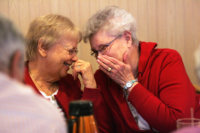 Monica Maschak - mmaschak@shawmedia.com Hazel Kriegel and Mary Koenig, graduates of Crystal Lake Community High School in the early 1950s, share a laugh during an alumnus celebration of 100 monthly meetings at IHOP in McHenry on Thursday, April 11, 2013. The group, started by Russ Nolte, has been meeting on the second Thursday of every month for more than eight years.