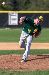 Kyle Grillot - kgrillot@shawmedia.com   Crystal Lake South senior Tyler Hall pitches the ball during the game against Crystal Lake South at Prairie Ridge high school on Tuesday, April 30, 2013. Crystal Lake South won the game 13-2.