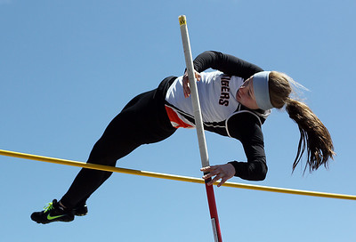 Sarah Nader - snader@shawmedia.com Crystal Lake Central's Claire Dalman competes in pole vault during Saturday's McHenry County Track Meet at Cary-Grove High School on April 20, 2013.