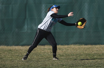 Sarah Nader - snader@shawmedia.com Woodstock North's Rachael Vela catches a a ball during the first inning of Monday's game against Prairie Ridge in Crystal Lake on April 8, 2013. Prairie Ridge won, 4-1.