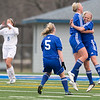 St. Charles North's Kelly Manski (left) celebrates with her team after scoring a goal in the first half against the Geneva<br /> at Geneva High School in Geneva, IL on Tuesday, April 09, 2013  (Sean King for Shaw Media)