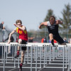 Batavia's Payton Piron and Kaneland's Dylan Nauert compete in the 110 Meter Hurdles during The<br /> Peterson Prep Track Meet at Kaneland High School in Maple Park, IL on Saturday, April 26, 2014 (Sean King for Shaw Media)