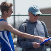 Geneva's Blaine Bartel talks to his track coach Bob Thomson after running the 3200 meter final in The Peterson Prep Track Meet at Kaneland High School in Maple Park, IL on Saturday, April 26, 2014 (Sean King for Shaw Media)