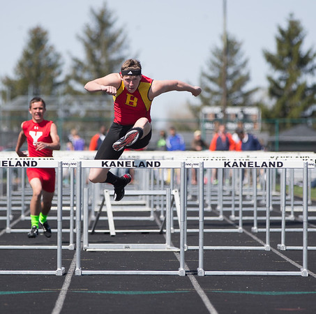 Batavia's Clayton Siemsen competes in the 110 Meter Hurdles during The Peterson Prep Track Meet at Kaneland High School in Maple Park, IL on Saturday, April 26, 2014 (Sean King for Shaw Media)