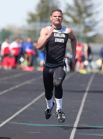 Kaneland's  Issac Swithers competes in the 100 meter dash during The Peterson Prep Track Meet at Kaneland High School in Maple Park, IL on Saturday, April 26, 2014 (Sean King for Shaw Media)