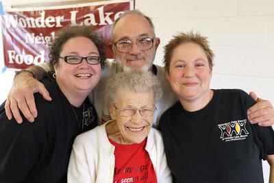 TheWonder Lake Neighbors food pantry at will celebrate the 96th birthday of their oldest volunteer Virginia Hartung and all their wonderful volunteers.