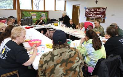 H. Rick Bamman - hbamman@shawmedia.com TheWonder Lake Neighbors food pantry celebrated the 96th birthday of their oldest volunteer Virginia Hartung and all their wonderful volunteers.