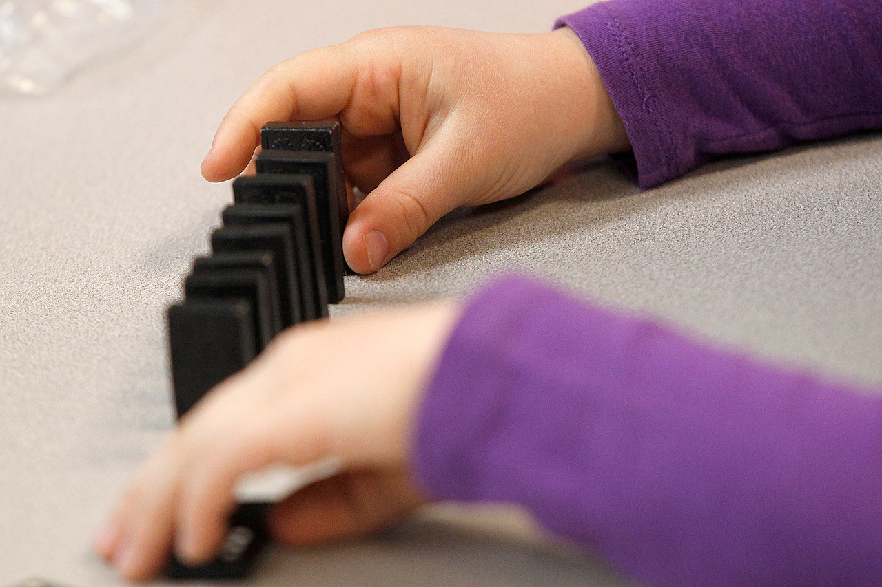 Matthew Apgar - mapgar@shawmedia.com Husmann Elementary School student Lauren Glover carefully lines up dominoes to topple during STEM (Science Technology Engineering Mathematics) class on Monday, April 20, 2015 at Husmann Elementary in Crystal Lake. The students were learning about forces needed to push and pull objects.