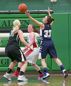 Cary-Grove's Jen Pilut (33) grabs a rebound over Marian Central's Makala Villont (25) during the second half of the McHenry County All Area Girl's All-Star Basketball Extravaganza at Alden-Hebron High School on Sunday, April 17, 2016 in Hebron, Illinois. The away team won the game 87-51.  John Konstantaras photo for the Northwest Herald