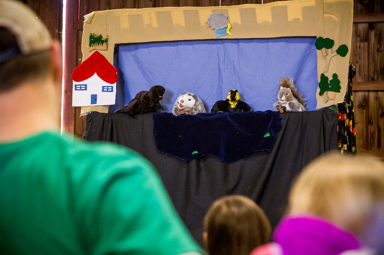 """Mike Greene - For Shaw Media A crowd watches a puppet show entitled """"Have to have a habitat"""" during Earth Day Celebration 2016 Saturday, April 23, 2016 at Prairieview Education Center in Crystal Lake. The event included guided nature hikes, games and crafts, puppet Shows, over 20 environmental exhibitors, as well as food & beverage vendors."""