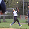 Jeff Krage – For Shaw Media<br /> Geneva second baseman Katherine Geary catches a fly ball during Tuesday's game against visiting Batavia.<br /> Geneva 4/26/16