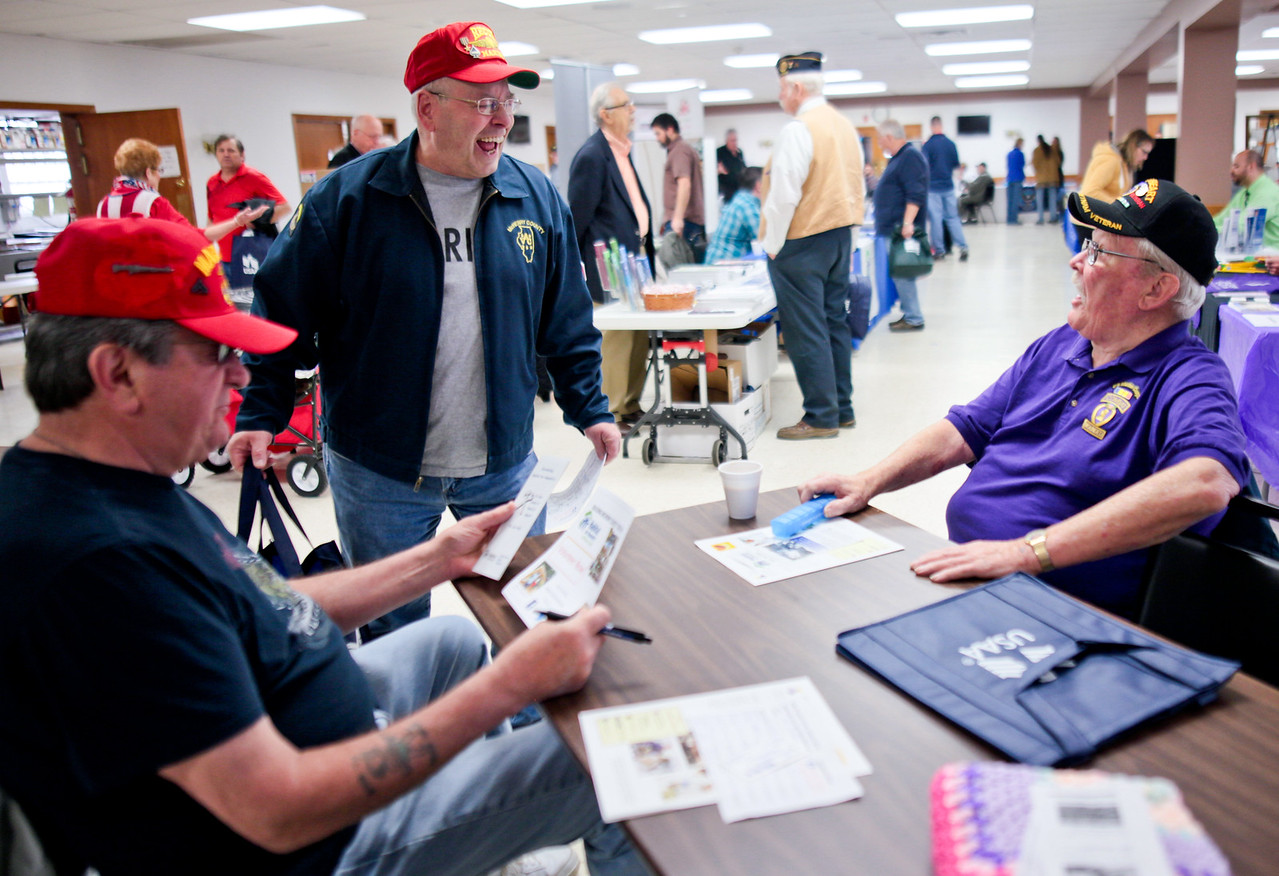 Michelle LaVigne/ For Shaw Media Closest left to right, Marine veterans Tony Handzel of McHenry, Jack Resigner of McHenry and Roy Allsup of McHenry share a laugh about blood pressure during the Veteran Stand Down Resource Fair held at the McHenry VFW on Thursday, April 28 2016. The event was hosted by the McHenry County Veterans Assistance Commission. The threesome were utilizing some of the resources available at the fair, such as opportunity for a free blood pressure screening.
