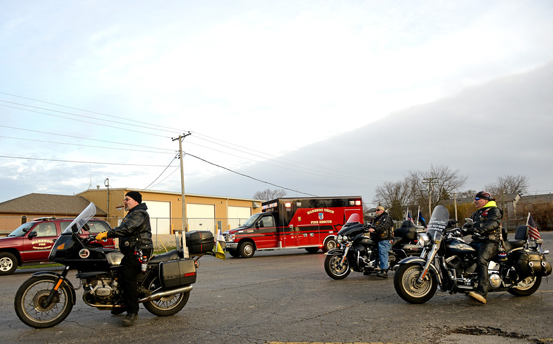 Kayla Wolf - For Shaw Media Warrior Watch Riders lead the escort of Sam Bronowski through Marengo on Saturday April 1, 2017. Bronowski arrived home after two years of serving in the armed forces.