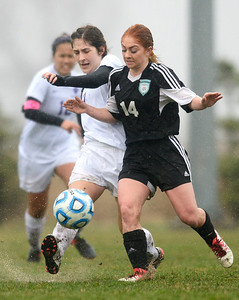 Woodstock North freshman Anastasia Mazzanti tackles the ball from Hampshire junior Mattea Huerta  Monday April 3, 2017, at Hampshire High School. Woodstock North won 3-2.
