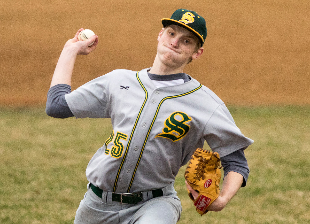 Sarah Nader - snader@shawmedia.com Crystal Lake South's Andrew Engelking pitches during Tuesday's game against McHenry High School in McHenry April 4, 2017.