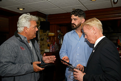 Kayla Wolf - For Shaw Media McHenry County Board Chairman Jack Franks (from left) Dan Hart and Woodstock's incumbent Mayor Brian Sager awaits election results Tuesday, April 4, 2017, at the VFW. The group discussed campaigning, voting and the current results of other local elections while they awaited updates of the Woodstock Mayoral election.