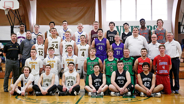 Boys all-star team pose for a photo before their basketball game at Alden-Hebron High School on Sunday, April 9, 2017 in Hebron, Ill. The away team won the game 87-86.  John Konstantaras photo for the Northwest Herald