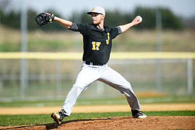 Jacobs senior Brad Demkovich pitches Saturday, April 15, 2017. Demkovich pitched for most of the game.