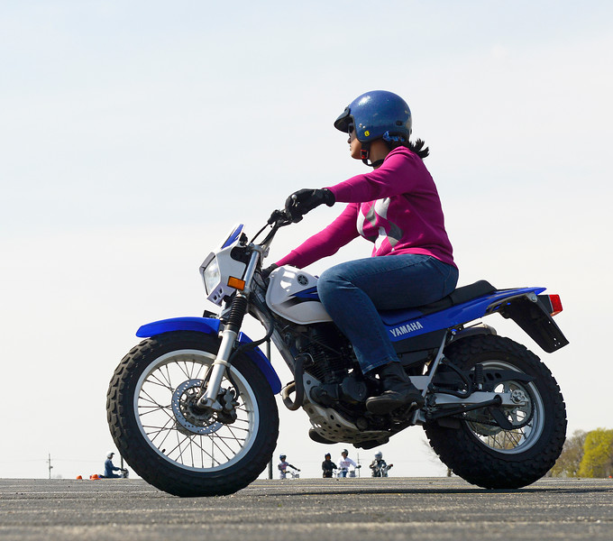 Motorcyclist Lakshmi Mahindrakar (cq) practices turning during a riding exercise Saturday, April 15, 2017.