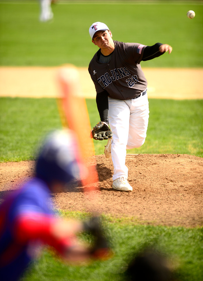 Kayla Wolf for Shaw Media- Cary Grove senior Thomas Neilson pitches Saturday April 22, 2017, during a home game against Dundee Crown.The Dundee Crown Chargers won 12 to 3.